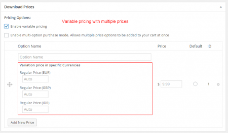 Currency Switcher for Easy Digital Downloads - Variable pricing