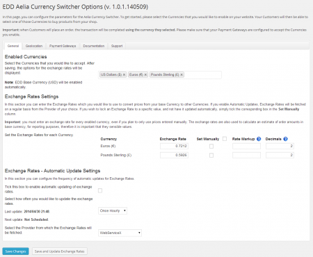 Currency Switcher for Easy Digital Downloads - Exchange rates settings