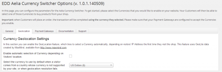 Currency Switcher for Easy Digital Downloads - Geolocation settings
