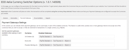 Currency Switcher for Easy Digital Downloads - Payment gateways settings