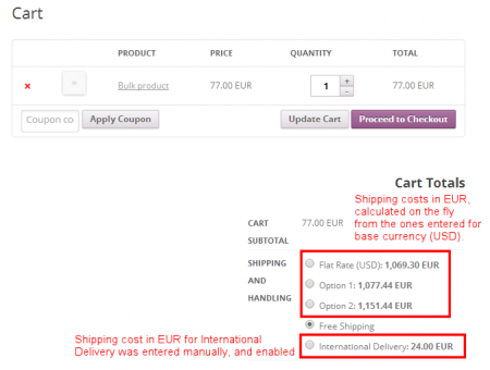 Shipping Pricing - Cart, with shipping in EUR
