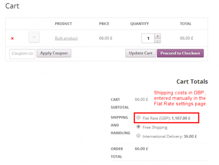 Shipping Pricing - Cart, with shipping in GBP