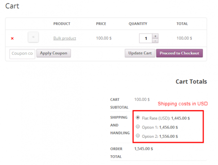 Shipping Pricing - Cart, with shipping in USD