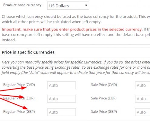 Screenshot - Product Edit Page - Multi-currency prices with currency codes