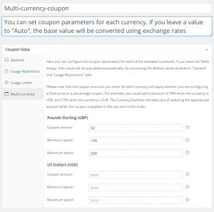 WooCommerce Currency Switcher - Multi-currency coupons