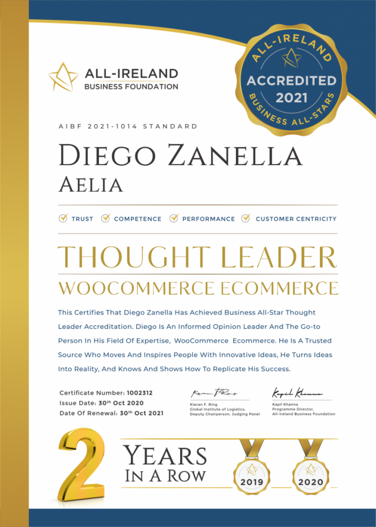 Aelia - Certificate of Accreditation 2020
