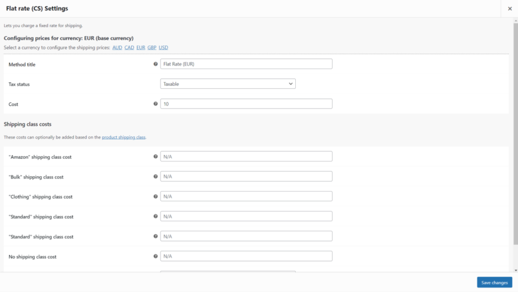 Aelia Shipping Pricing Addon - Shipping Method configuration